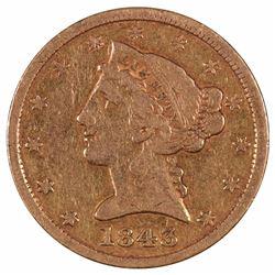 1843 $5 Liberty Head Half Eagle Gold Coin