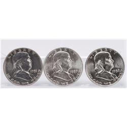 Lot of (3) 1951, 1957, 1958 Franklin Half Dollars