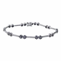 14KT White Gold 1.87ctw Blue Sapphire and Diamond Bracelet