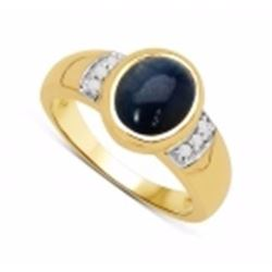 Sterling Silver Cabochon Blue Sapphire and Diamond Ring