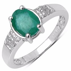 Sterling Silver Zambian Emerald and Diamond Ring