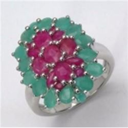Sterling Silver Emerald and Ruby Ring
