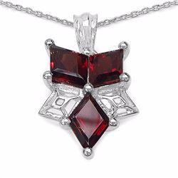 Sterling Silver Fancy Cut Garnet Pendant