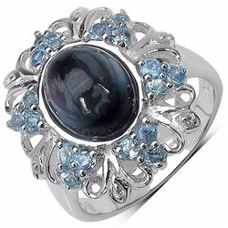 Sterling Silver Cabochon London Blue Topaz and Baby Swiss Blue Topaz Ring