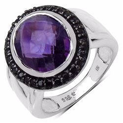 Sterling Silver African Amethyst and Black Spinel Ring