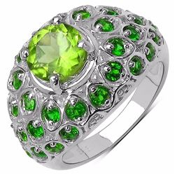 Sterling Silver Peridot and Chrome-Diopside Ring