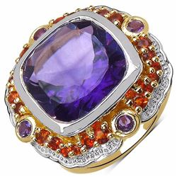 Sterling Silver African Amethyst and Madeira Citrine Ring
