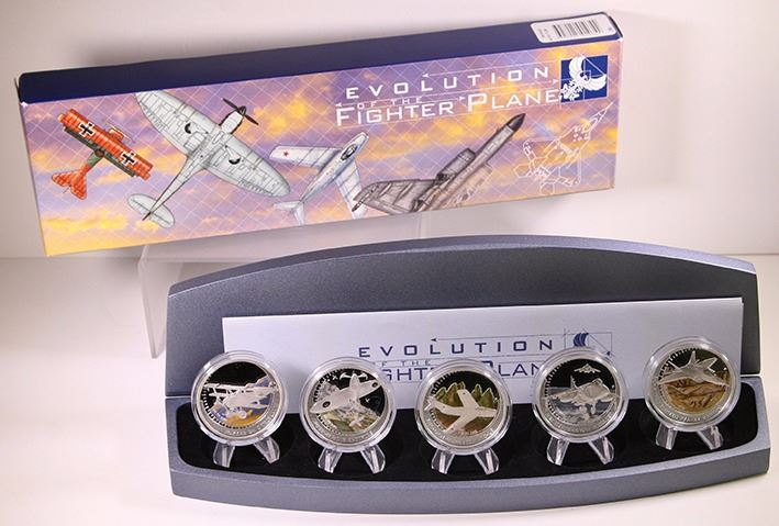 Tuvalu, Proof Silver One Dollar, 2005, Evolution of the Fighter Plane Set