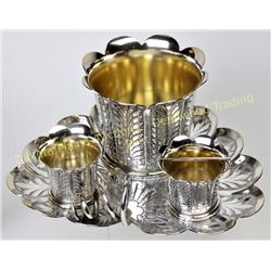 4 piece quadruple plate silver cigar smoking set by James Tufts Boston, showing as new with no use.