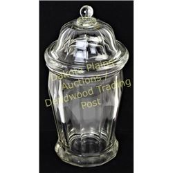 Heavy clear candy jar store container showing good condition.  Est. 25-75