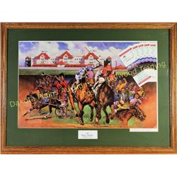"Prairie Meadows Horse Race print from the Inaugural season 1989, nicely framed 29"" X 18"", includes 6"