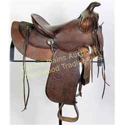 "C.P. Shipley childs saddle 21"" overall, basket stamped, 6 string, original lining, maker marked in 4"