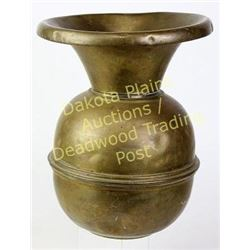 Early brass spitoon Weighted bottom, great character.  Est. 60-125