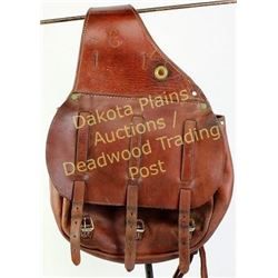 Pair of saddle bags unmarked, made in USA, cavalry style in brown russet, leather showing good condi