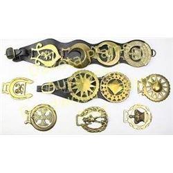 Collection of 7 brass harness drops largest marked 1952-1977 Elizabeth II Silver Jubilee.  Est. 50-1