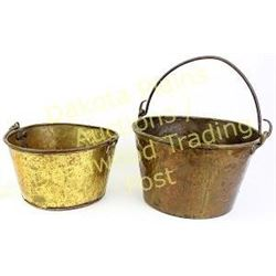 Collection of 2 early brass trade pails complete with handles intact.  Est. 100-200