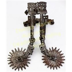 "Pair of ornate early Mexican spurs double buttons, 2.5"" rowels.  Est. 125-200"