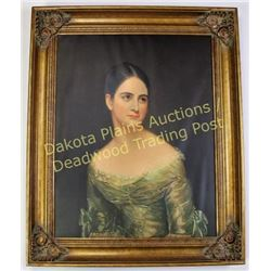 "Large contemporary image of young Victorian woman frame size 28""X34"", partially printed with painted"