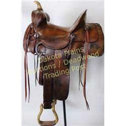 C. 1920's square skirt saddle stamped Great Western Saddlery Co. Ltd. Horseshoe Brand, 14.5  bear tr