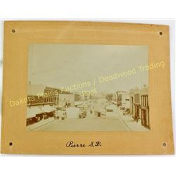 Collection of 4 original cabinet cards from S.D., including Main Street Pierre, group watching Nativ