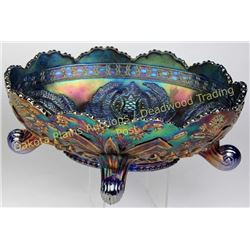 "Beautiful carnival glass bowl footed with great color, 10.5""X7.5""X4"" tall.  Excellent condition.  Es"