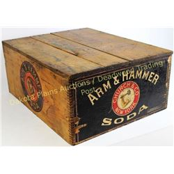 "Arm & Hammer wooden crate 19.5""X15.5""X8"", box shows nice paper label, stamped graphics on three side"