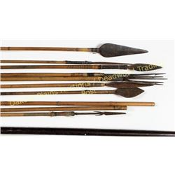 "Philippine long bow and 10 arrows bow 6', arrows range from 36""-56"", 8 arrows have various metal tip"