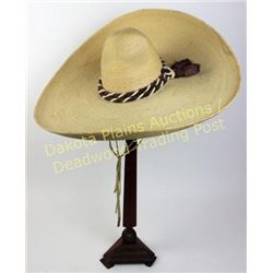 Quality vintage Mexican Sombrero c. 1940's-1950's, silk lined interior marked L.A. GUAOALUPANA, very