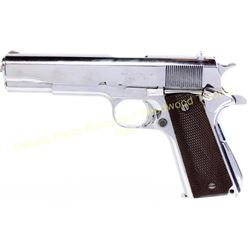 Ithaca model 1911 A1 U.S. Army .45 cal SN 2624047 semi-automatic pistol, shows old nickel refinish,