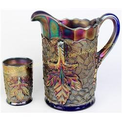 Matching carnival glass pitcher and tumbler c. 1910, iridescent ametheyst Dugan maple leaf pattern,