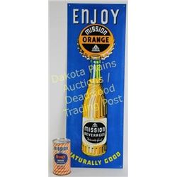 "2 Mission Orange Soda Original soda ads including tin sign with bottle 9""X25"" and coin bank.  Very g"