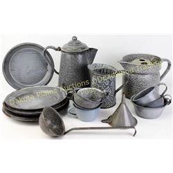 Collection of 21 pieces early gray granite ware all good to very good condition.  Est. 50-150
