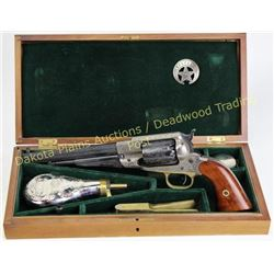 Vintage cased new model Army .44 cal percussion revolver made by Pietti, fully engraved with fitted