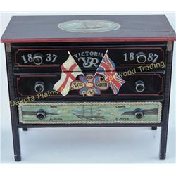 Antique chest of drawers with later hand painted nautical theme of 1887 Victoria VR yacht jubilee, n