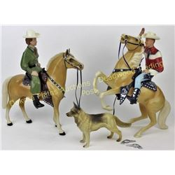 Mint 1950's Roy Rogers and Dale Evans set made by Hartland Plastics, complete with trigger, buttermi