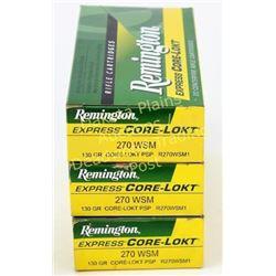 3 full boxes Remington 270 wsm ammunition.  Est. 50-75