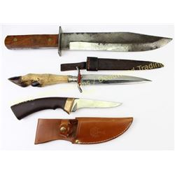 Collection of 3 Knives German Boker skinning knife w/ sheath, Large unmarked clip point bowie knife,