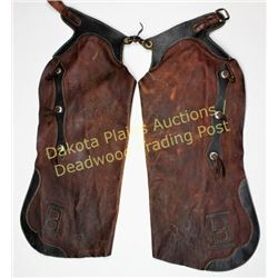 Unmarked Batwing Chaps applied brands on lower corners, good condition, perfect for cowboy cabin dec