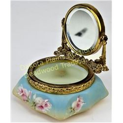 Wave Crest mirrored dresser box Nakara C.F.M. & Co. back stamp, hand painted pink floral on light bl