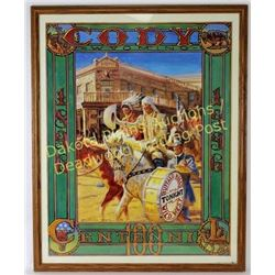 Framed Cody, WY 100th Centennial poster 1896-1996, depicting Buffalo Bill Cody horseback in front of