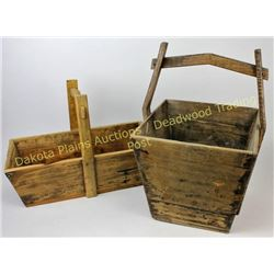 "Collection of 2 wood handled buckets largest 22"" tall.  Est. 25-75"