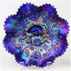 Northwood carnival glass bowl desirable Good Luck pattern and iridescent blue and purple w/ ruffled