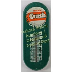 "Original Orange Crush metal thermometer 15"" long, very good, including color and graphics.  Est. 50-"