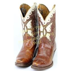 Vintage Tony Lama cowboy boots butterfly pattern, brown leather with white inlays to back and front