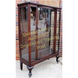 Antique mahogany china cabinet bow front glass door, 3 plate rail shelves on carved lions feet, cabi