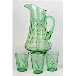"Beautiful antique water pitcher with 3 matching tumblers, hand painted floral pattern, pitcher 11"" t"
