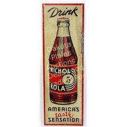 """Original tin Nichol Kola 5 cent sign c. 1930's, 8""""X24"""".  Est. 75-175"""