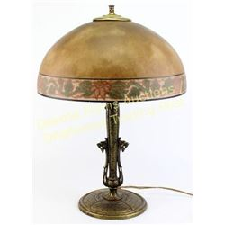 Antique table lamp, bronze hammered base 16  reverse painted glass shade, 21  tall, condition very g