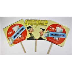 Collection of 3 Alka Seltzer advertising fans double sided, very good condition.  Est. 50-125