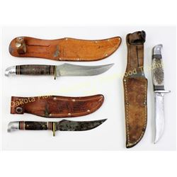 Collection of 3 hunting knives with sheaths.  Est. 25-75